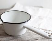 Vintage White Enamelware Saucepan