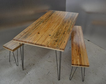 Dining Table & Benches - Salvaged Cargo Train Hardwood on Hairpin Legs