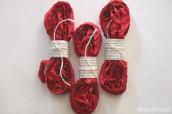Candy Apple Red - Shabby Crinkled Seam Binding Ribbon Bundle