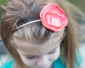 Whimsical Coral color Fabric Flower Headband  Ready to Ship