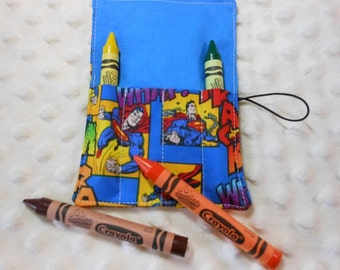 Superman Mini Crayon Roll Up Holder With 4 Pockets With crayon
