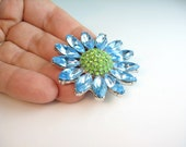 Rhinestone Daisy Flower Pin / Signed Pell / Aqua & Light Green / 1960s Jewelry