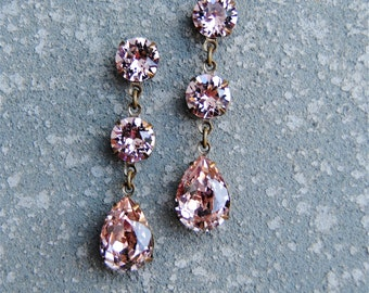 Rose Pink Earrings Swarovski Crystal Earrings Small Post or Clip on Tear Drop Dangle Rhinestone Earrings Fiesta Mashugana