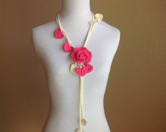 Valentines Adjustable Rose Lariat with Pink Rose Brooch and White Hearts