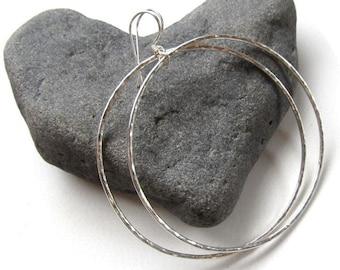 Hoop Earrings, Sterling Silver Hoops, Hammered, Simple, Handmade, Textured, Minimalist, Boho Chic Jewelry, Everyday Wear, Elegant Holiday