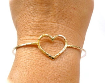 Gold Heart Bangle, Hammered Bracelet, Love, Anniversary, Bridal Jewelry, Bridesmaid Gift Idea, Wedding Accessory, Handmade, Friendship