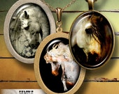 Horse - Printable Images - 18x25mm and 13x18mm ovals - Digital Collage Sheet CG-661O - for Pendants, Cabochons, Cameo, Crafts