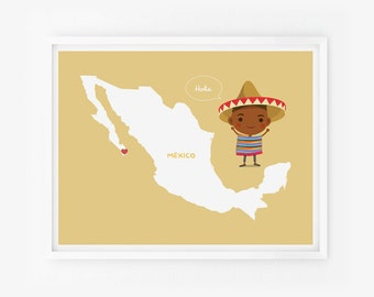 Personalized Mexico Map Children Decor Custom with children in traditional costumes Art print, Nursery Art, Playroom Art, Classroom decor