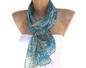 women scarf, chiffon scarves / neckwarmer ,woman scarf, blue floral, beige handmade lace, / bandana /turban / headband/ for her