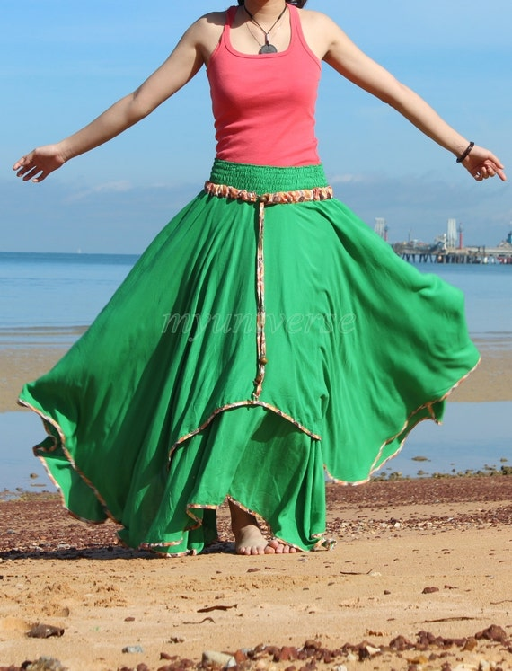 Circle Maxi Skirt Cotton Hippie Green Women Long Skirt / Wide Flowing Full Summer Skirt Handmade