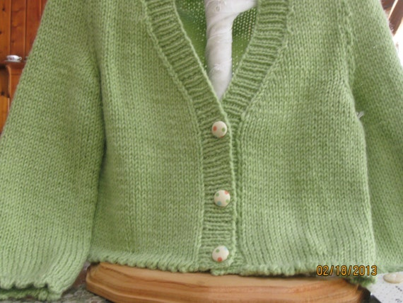 Hand Knitted Toddler Girl Puff Sleeved Pale Green Cardigan/ Cardi Handmade Ready to Ship RTS
