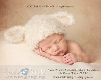Newborn Lamb Hat. Baby Lamb Hat. Babies Curly Lamb Hat. Newborn Photography Prop. UK Seller