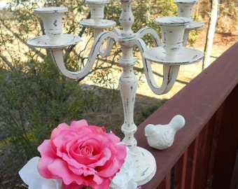 """Shabby Chic Rustic Paris Farmhouse Table Setting Tabletop Decor..5 Prong Distressed Candelabra-15"""" Tall x 12"""" Wide- choose your custom color"""