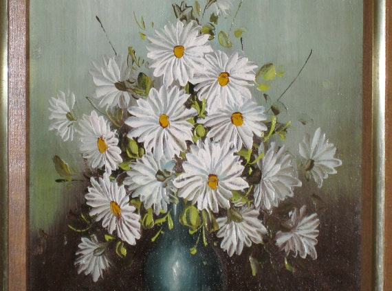Sale Gorgeous Robert Cox Daisies Floral Painting Oil
