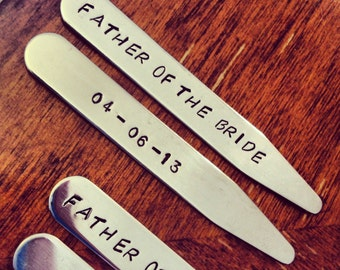 FATHER Of The BRIDE Collar Stays - Gift for Dad - Men's Wedding Favors