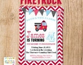 FIRE TRUCK party invite - YOU PrinT