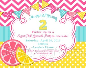 PINK LEMONADE party invitation - YOU Print - Original Treasury featured