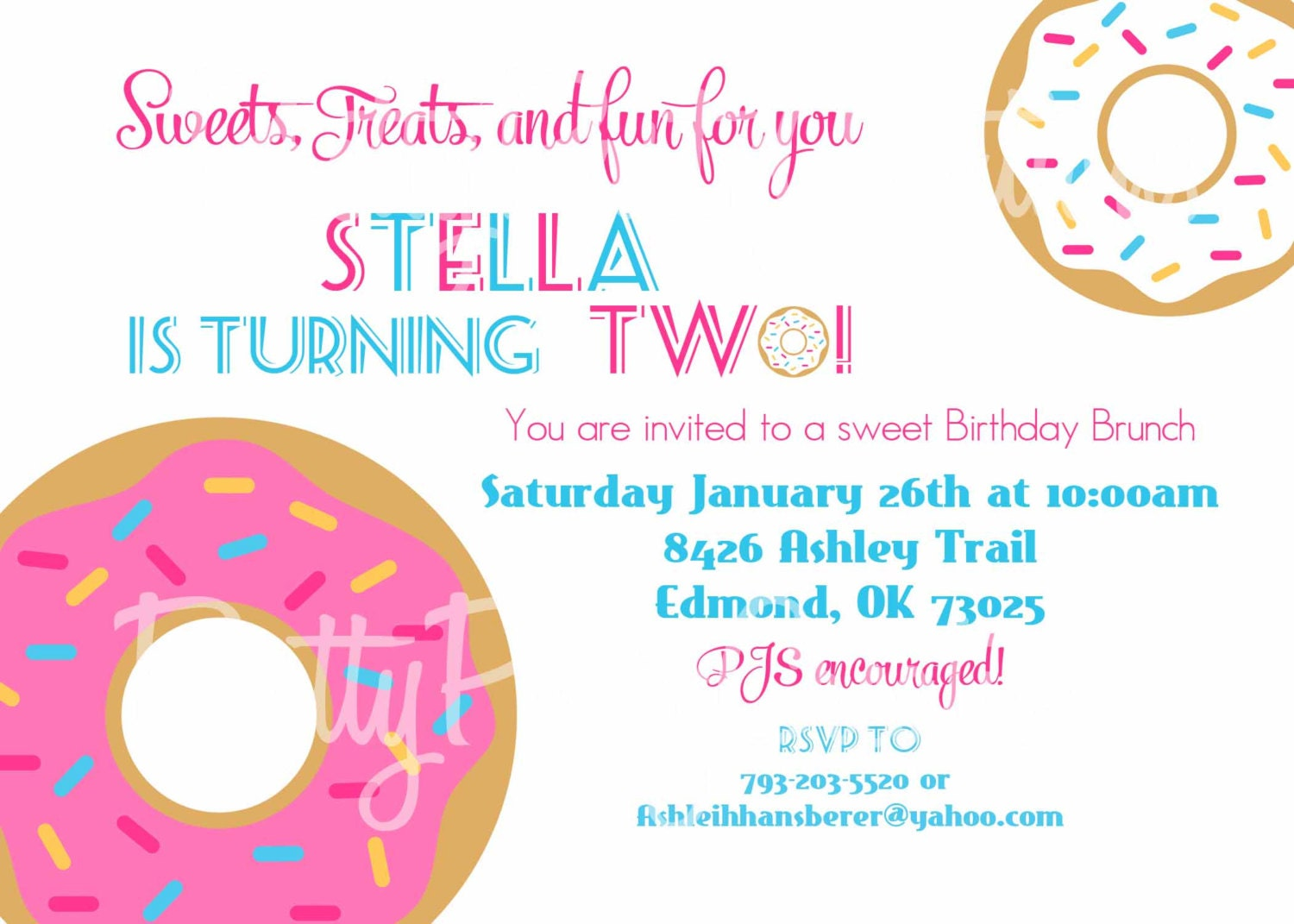 Donut Birthday Shower Brunch Invitation You Print Any Age