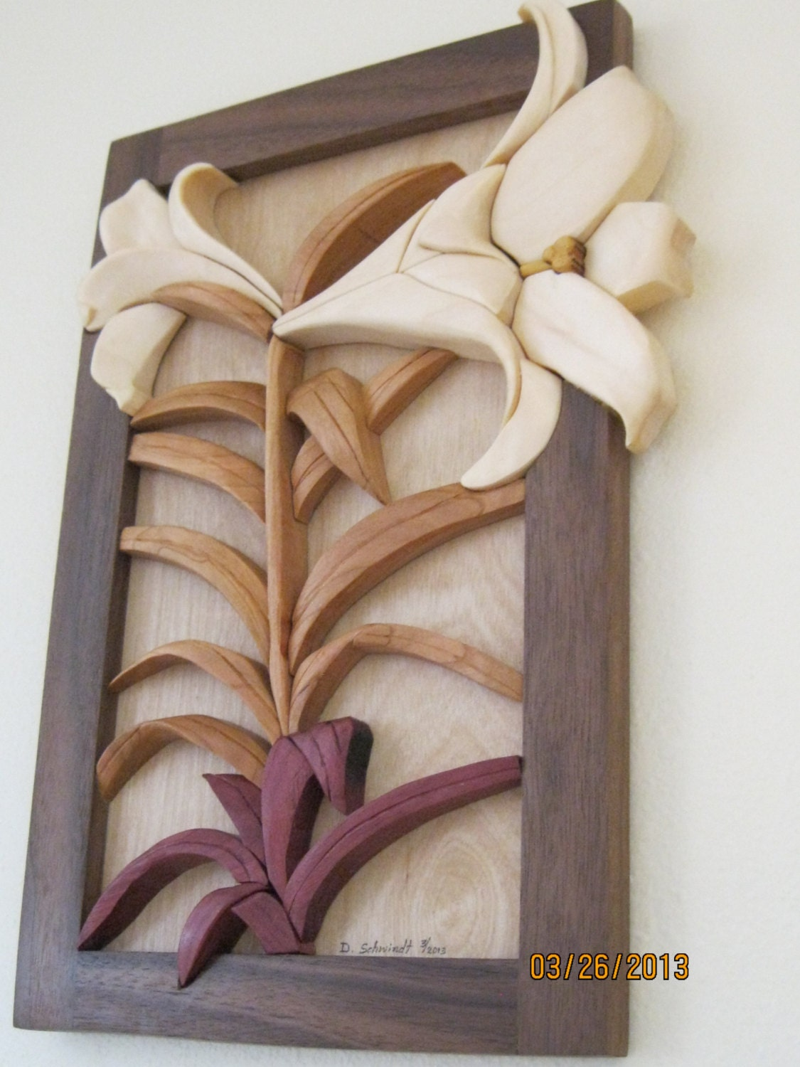 Lily Intarsia Carved Flower By Rakowoods Easter Wall Decor
