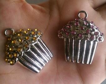 Large Yellow and Light Purple Rhinestone Muffin Charms/Pendants 2pcs