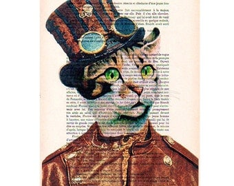 Painted portraits Drawing Illustration Giclee Prints Posters Mixed Media Art Acrylic Painting Holiday Decor Gifts: Steampunk Cat