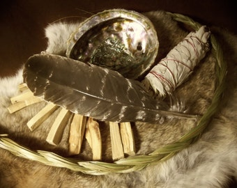 Smudge Power Pack-  1 oz  Palo Santo, 1 White Sage Wand, 1 Sweet Grass Braid, 1 Abalone Shell, and 1 Wild Turkey Wing Feather