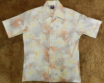 vintage 70s Polyester button up Shirt club casual Joel Cal-Made Large all over print