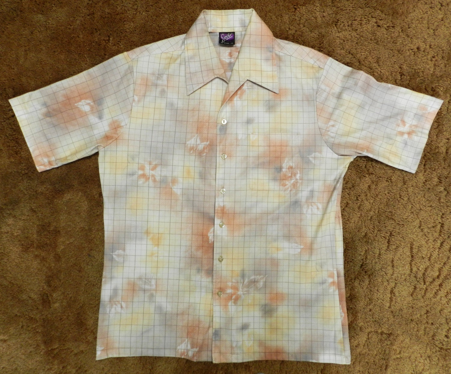 Vintage 70s polyester button up shirt club casual joel for Polyester button up shirt