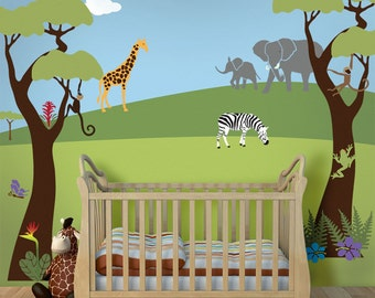 Jungle Wall Mural Stencil Kit for Baby Nursery Wall Mural (stl1001)