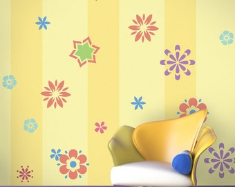 Flower Wall Mural Stencil Kit Kids Room or Baby Nursery (stl1016)