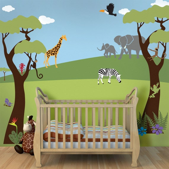 Jungle wall mural stencil kit for baby nursery wall mural for Baby room jungle mural