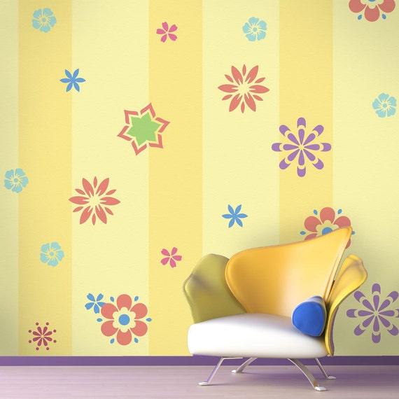Flower Wall Mural Stencil Kit Kids Room Or Baby Nursery