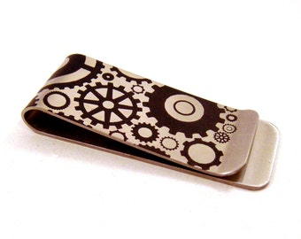 Steampunk Gears on Stainless Steel Money Clip