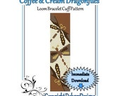 Bead Pattern Loom(Bracelet Cuff)-Coffee and Cream Dragonflies