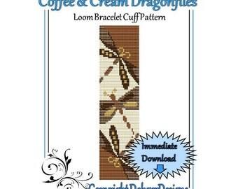 Bead Pattern Loom(Bracelet Cuff)-Coffee and Cream Dragonflies