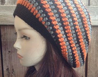 Black, Orange and Grey Tam hippie Hat Slouchy rasta soft-acrylic