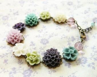 Spring Jewelry, Flower Bracelet, Flower Garden Bracelet, Bohemian Bracelet, Violet, Blue, Green, Cream, Shabby Chic Jewelry, Retro Jewelry