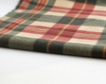 Vintage Fabric - Plaid - Brown - Beige - Green - Drapery - Cotton - Richloom -