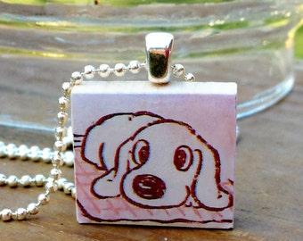 Shelter Puppy Dog Scrabble Tile Pendant