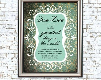 True Love MLT 8x10 Print princess bride quote funny valentine
