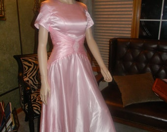 SALE! 1930S style Rita Hayworth Satin Ballroom Gown.dancing Dress . iced Pink Evening Dress .Cocktails . Valentines Day Gown.La La Land