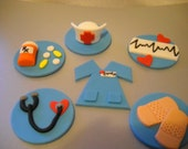 Nurse Fondant Cupcake Toppers - Set of 12