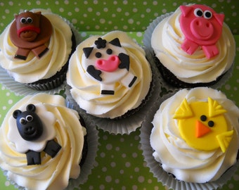 24  Barn Yard Friends -  Edible Farm Animals Toppers For Cakes, Cupcakes and Cookies