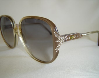 Vintage '80'S Anne Klein Sunglasses, Rhinestones, New Lenses, Hand Made Frame Italy, New Old Stock