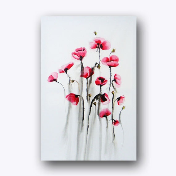 Poppies Painting Abstract Flower Painting Black White Red