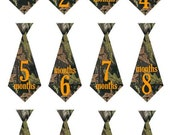 Baby camouflage monthly bodysuit camo iron on ties stickers