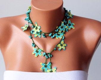 Beaded Crochet necklace  jewelry / crochet oya  necklace/ crochet flower necklace,  with NATUREL STONE