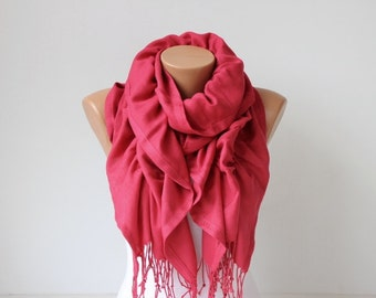 Ruffle scarf  ,Pashmina fabric scarf   - CHOOSE YOUR COLOR , Radical red