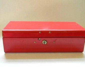 STORAGE BOX, Vintage Red Metal Box