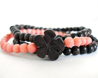 Pink Coral Orchid Bracelet Set, Pink Coral, Wooden Mala Beads, Set of 3 Stackable Bracelets